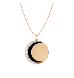 EF Collection 14KR DIAMOND & BLACK ENAMEL CRESCENT MOON NECKLACE
