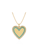 EF Collection 14KY DIAMOND & TURQUOISE ENAMEL HEART NECKLACE
