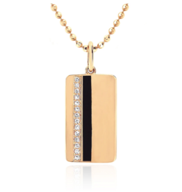 EF Collection 14KY DIAMOND & BLACK ENAMEL VERTICAL STRIPE NECKLACE