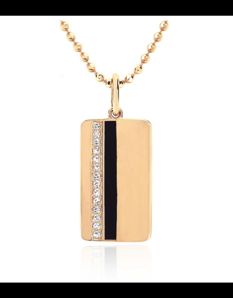 EF Collection 14KY DIAMOND & BLACK ENAMEL VERTICAL STRIPE NECKLACE