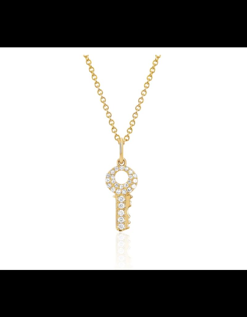 EF Collection 14KY MINI DIAMOND KEY NECKLACE