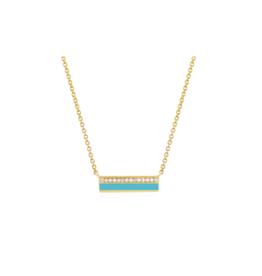 EF Collection 14KY MINI DIAMOND & TURQUOISE ENAMEL BAR NECKLACE