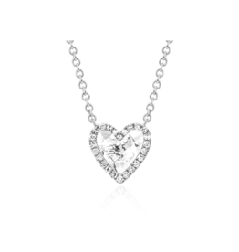 EF Collection 14KW DIAMOND WHITE TOPAZ HEART NECKLACE
