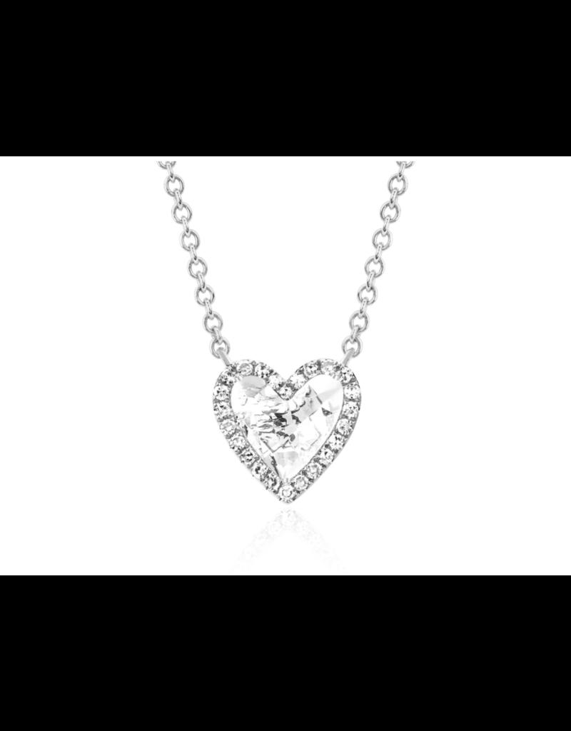 EF Collection 14KW DIAMOND WHITE TOPAZ HEART NECKLACE