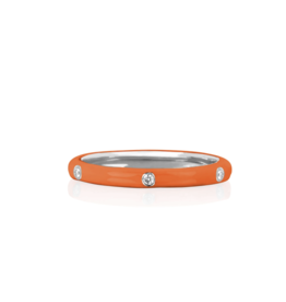 EF Collection 14KW 3 Diamond Orange Enamel Stack Ring- Size 7