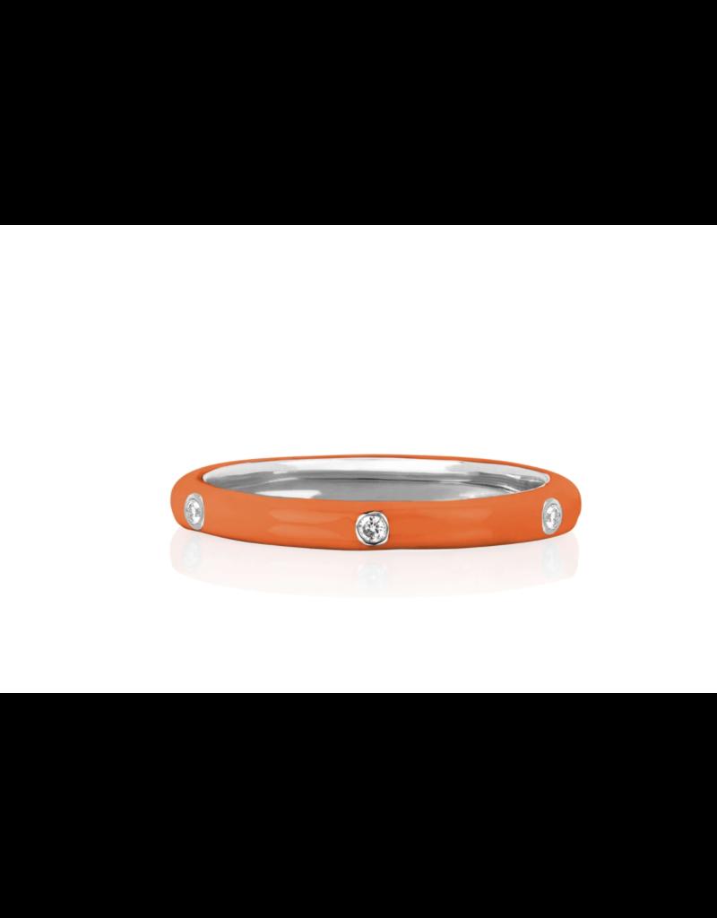 EF Collection 14KW 3 Diamond Orange Enamel Stack Ring- Size 7
