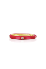 EF Collection 14KY 5 DIAMOND RED ENAMEL STACK RING SIZE 6