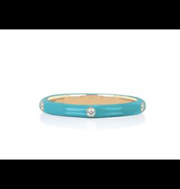 14KY 5 Diamond Turquoise Enamel Stack Ring-size 7