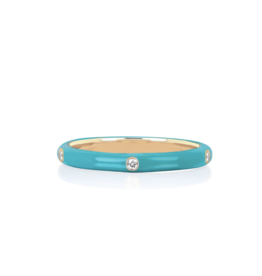 EF Collection 14KY 5 Diamond Turquoise Enamel Stack Ring-size 7