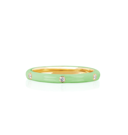 EF Collection 14KY 3 Diamond Mint Enamel Stack Ring- Size 8