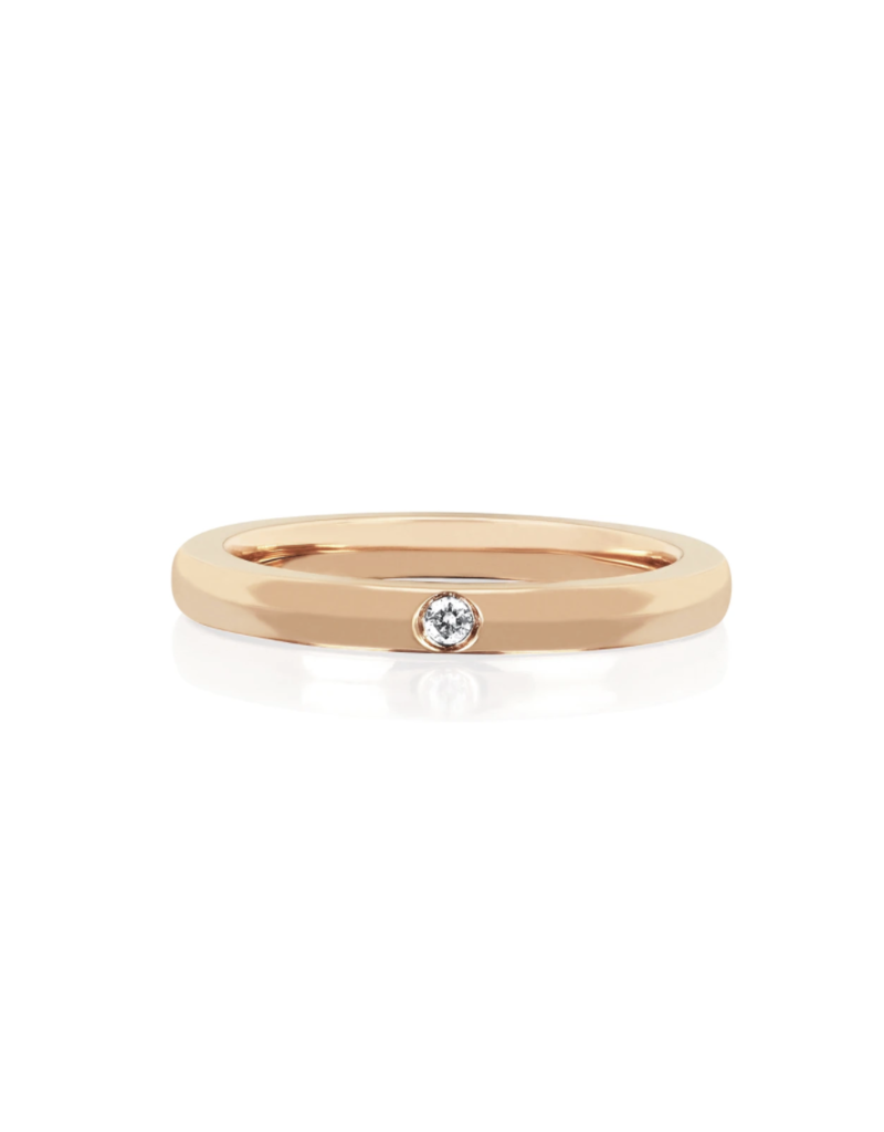 EF Collection 14KR JUMBO SINGLE DIAMOND GOLD STACK RING SIZE 7