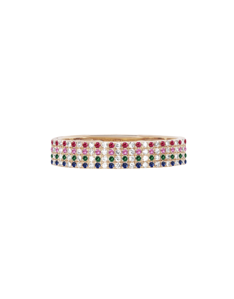 EF Collection 14KR RAINBOW CIGAR BAND RING SIZE 7