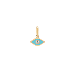 EF Collection 14KY DIAMOND TURQUOISE ENAMEL EVIL EYE CHARM PENDANT