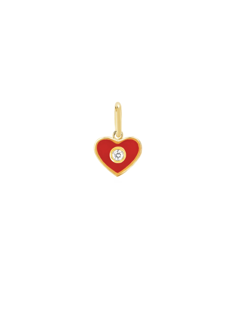 EF Collection 14KY DIAMOND & RED ENAMEL HEART CHARM PENDANT
