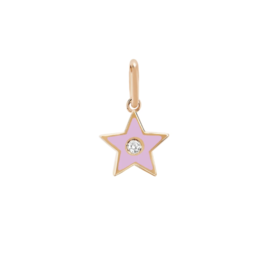 EF Collection 14KR DIAMOND & LIGHT PINK ENAMEL STAR CHARM PENDANT