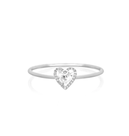 EF Collection 14KW DIAMOND WHITE TOPAZ HEART STACK RING SIZE 7