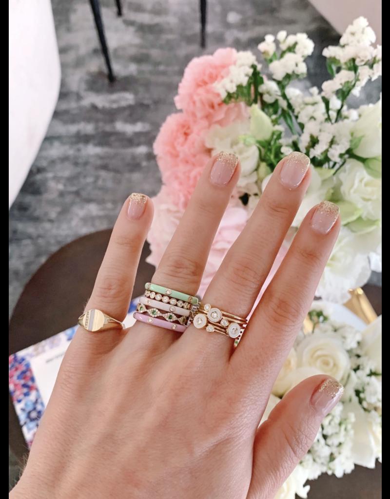 EF Collection 14KW DIAMOND & WHITE ENAMEL BEZEL STACK RING SIZE 6