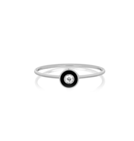 EF Collection 14KW DIAMOND & BLACK ENAMEL BEZEL STACK RING SIZE 7
