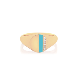 EF Collection 14KY DIAMOND & TURQUOISE ENAMEL STRIPE SIGNET RING SIZE 3.5