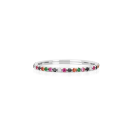EF Collection 14KW DIAMOND RAINBOW ETERNITY BAND RING SIZE 7