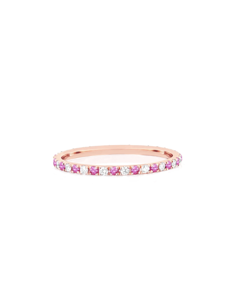 EF Collection 14KR DIAMOND & PINK SAPPHIRE DOT ETERNITY BAND RING SIZE 7