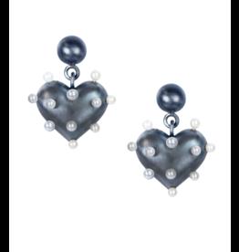 Rachel Quinn Pin Cushion Black Heart Earrings