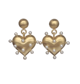 Pin Cushion Gold Heart Earrings