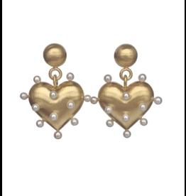 Rachel Quinn Pin Cushion Gold Heart Earrings