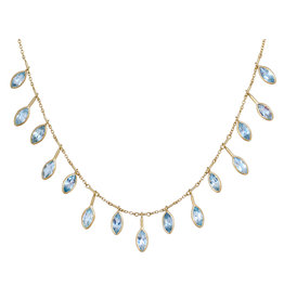 Aquamarine Marquise Fringe Necklace