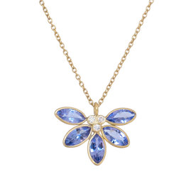 Echinacea Tanzanite + Diamond necklace