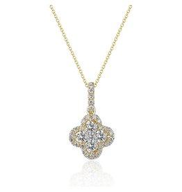 14K Yellow Gold Diamond Clover Necklace
