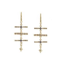 Old World 18K Yellow Gold  Bar Dangle Earrings