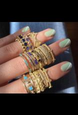 14K Rose Gold Diamond and Lapis Stack Ring