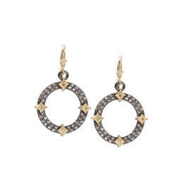 Old World Open Circle Pave Champagne Diamond Earrings