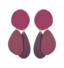 Wine Pebble Earrings