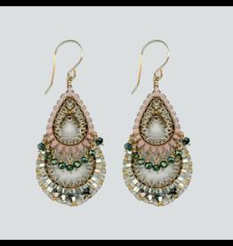 Pink and Silver Teardrop Dangle Earrings