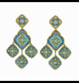 Pariba Blue & Gold Triple Drop Earrings