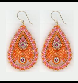 Large Orange & Pink Dangle Earrings