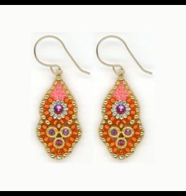 Small Orange & Pink Dangle Earrings