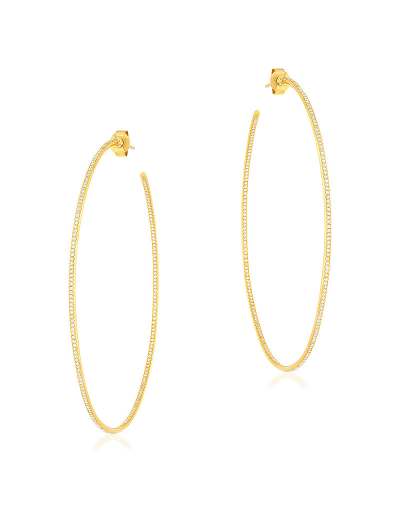 65mm In And Out Diamond Hoop Earrings