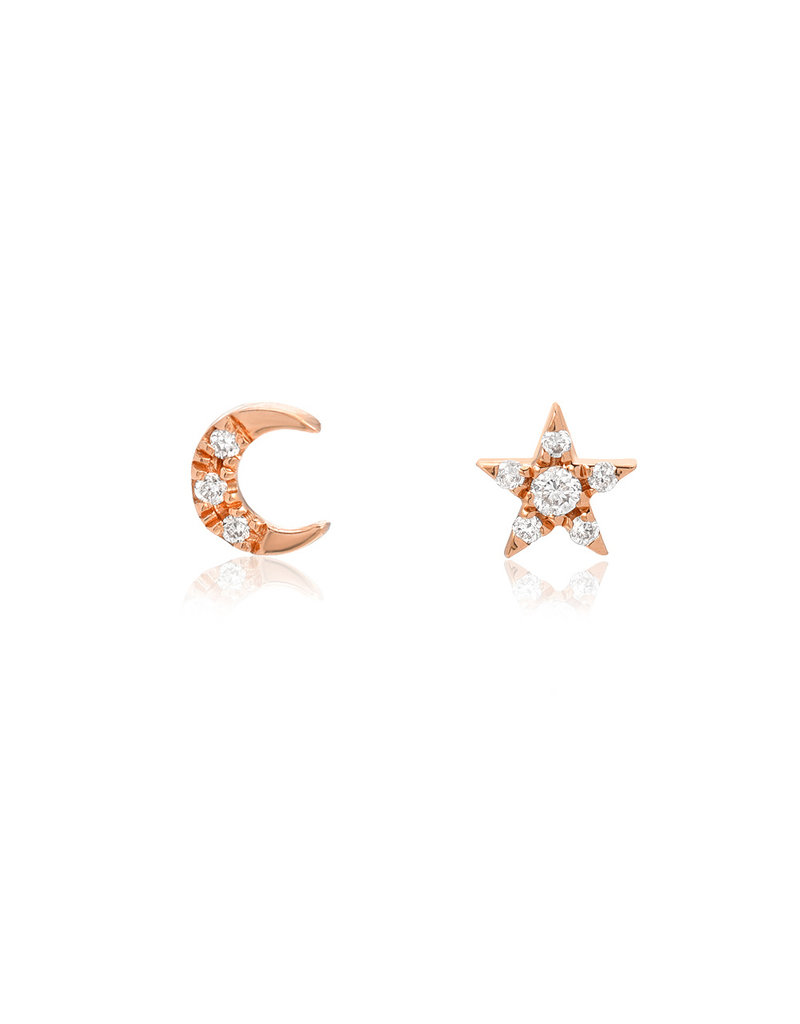 14KR Petite Crescent Moon and Star Post Earrings