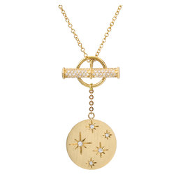 14K Yellow Gold Star Scattered Diamond Toggle Necklace