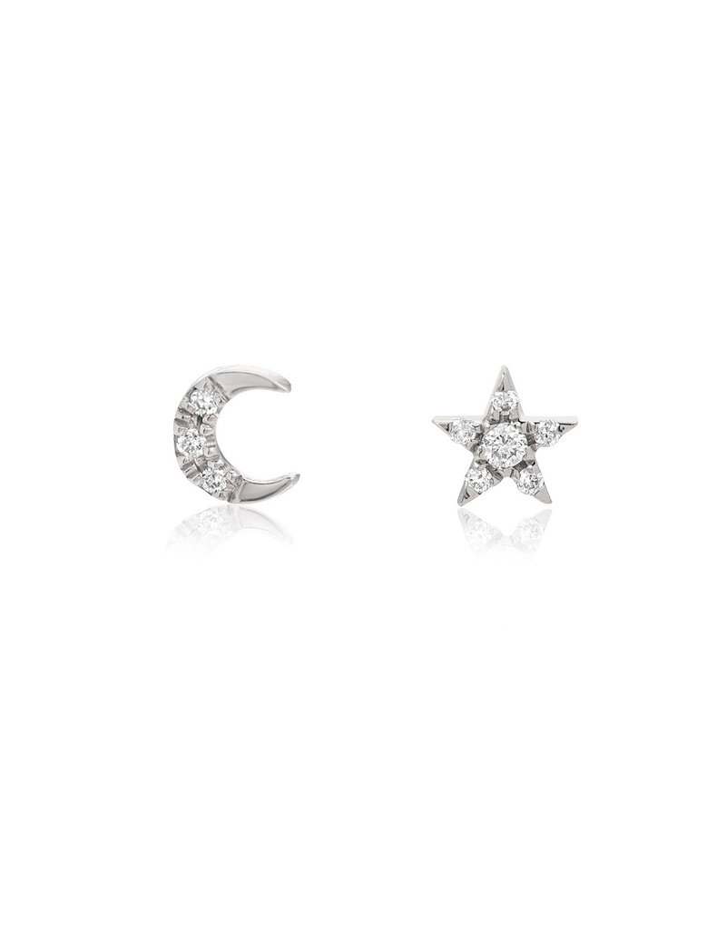 14K White Gold Petite Star and Moon Post Earrings