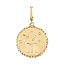 14K Yellow Gold and Diamond Gemini Zodiac Disc Charm