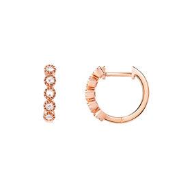 14K Rose Gold Impact Rose Cut Diamond Huggies