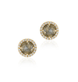 Rosie 5.0mm Labradorite & Diamond Post Earrings