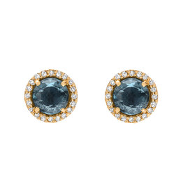 Rosie 5.0mm London Blue Topaz & Diamond Post Earrings