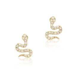 14K Yellow Gold Petite Snake Post Earrings
