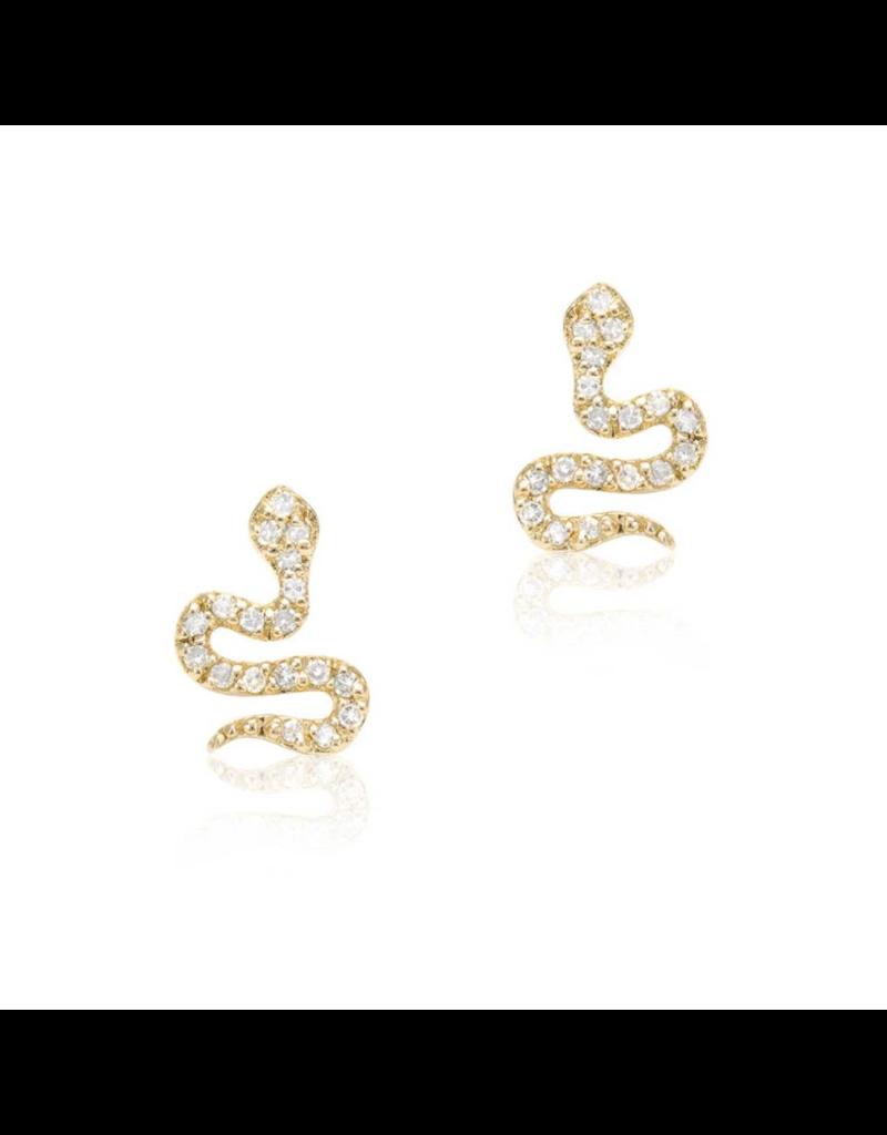 14K Yellow Gold Petite Snake Post Earrings