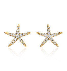 14K Yellow Gold Small Starfish Post Earrings